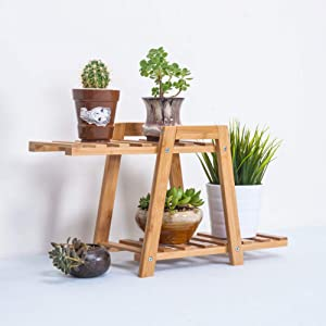 2 Layers Mini Bamboo Plant Stand Small Flower Display Rack Shelf Planter Indoor Outdoor Garden Desktop Decoration Succulent Plants