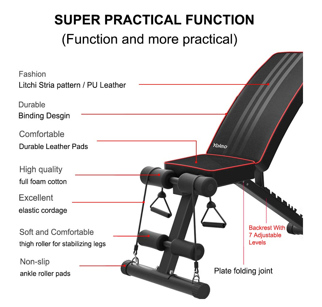 Yoleo Adjustable Weight Bench - Utility Weight Benches for Full Body Workout, Foldable Incline/Decline Bench Press for Home Gym by Yoleo (Image #9)