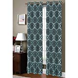 Window Elements Diamante Flocked Faux Silk 76 x 84 in. Grommet Curtain Panel Pair, Aqua/Chocolate Review