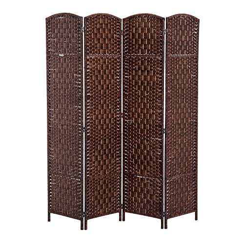 (HOMCOM 6' Tall Wicker Weave Four Panel Room Divider Privacy Screen - Chestnut Brown)