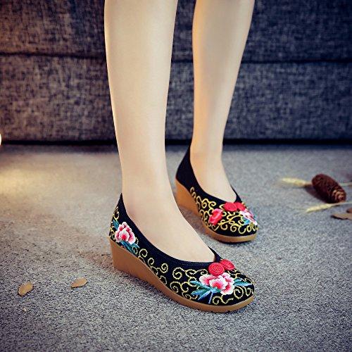 ¨¦tnico ocasional GuiXinWeiHeng zapatos xiuhuaxie del lenguado manera lino bordados black femeninos Zapatos c¨®modo estilo tend¨®n aumentados 686wS