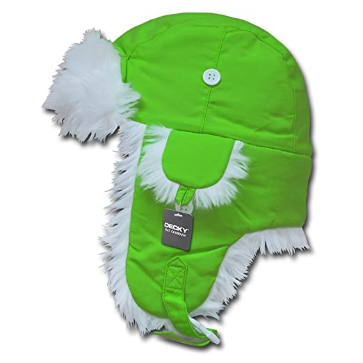 783a0b37c6ce3 High Visibility Neon White Fur Aviator Winter Trooper Hat - Neon Green - SM