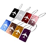 PIXNOR PIXNOR Metal Travel Luggage Tags Suitcase Tags with Strings Pack of 8, As Shown, 7.5cm*4.5cm