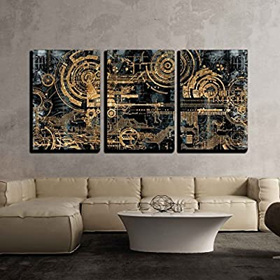 3 Piece Canvas Wall Art - a Technically Electronic Background with Device Objects - Modern Home Art Stretched and Framed Ready to Hang - 24