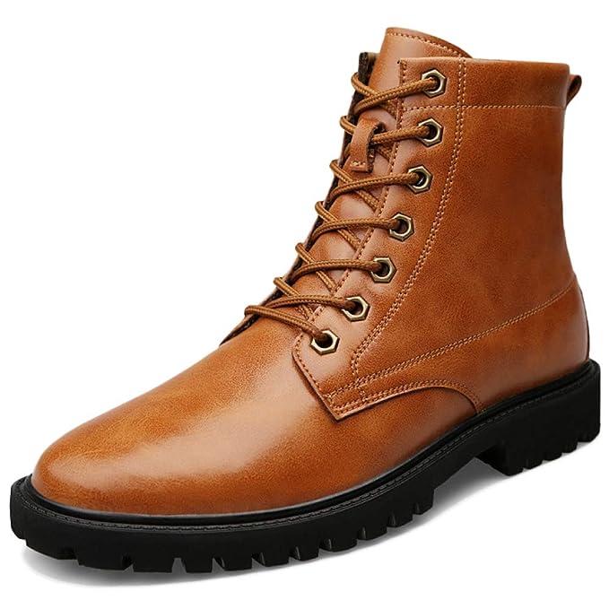 Cordones Tamaño Boots Con Mens Martin Tobillo Genuino Gran Cuero De OSqw5z7x