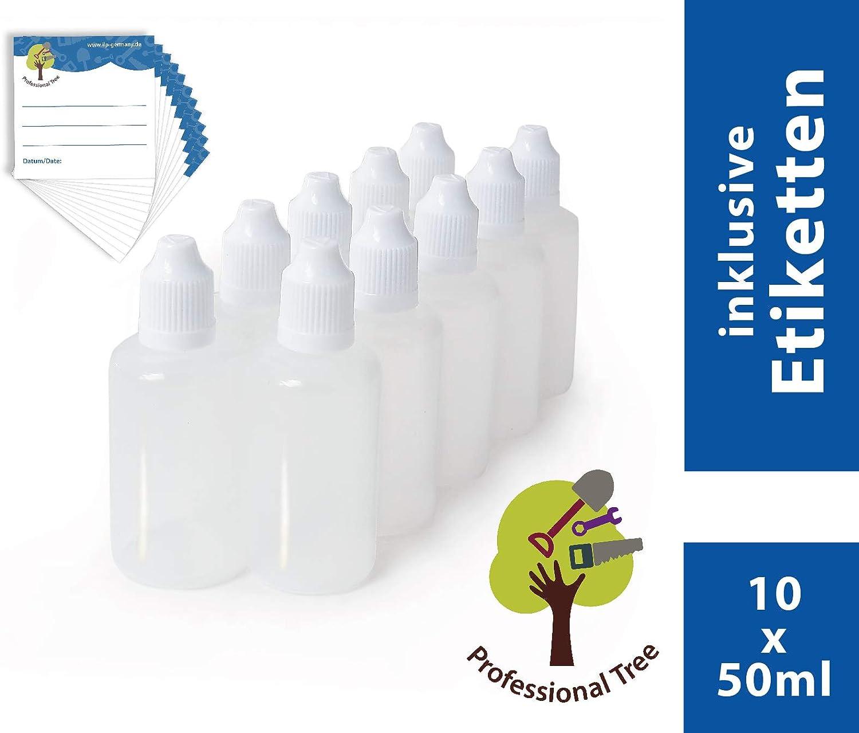 iLP Botellas de goteo, 50 ml, 10 unidades, adecuadas para la dosificación sencilla de líquidos y su almacenaje, con cierre de rosca con seguro para niños, de plástico de calidad LDPE, transparentes