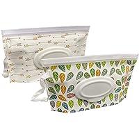 Joyous Journey Portable Wet Wipe Pouch Bags Set, 2 Pcs Wet Wipe Holder + 2 Pcs Baby Carriage Hook Tools, Reusable…