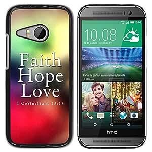 Paccase / SLIM PC / Aliminium Casa Carcasa Funda Case Cover para - BIBLE Corinthians 13:13 - Faith Love Hope - HTC ONE MINI 2 / M8 MINI