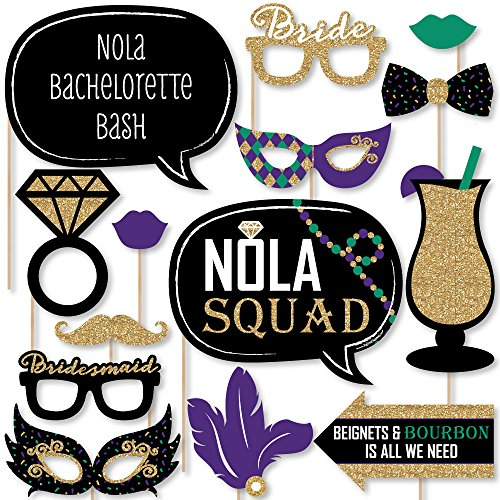Big Dot of Happiness Nola Bride Squad - New Orleans Bachelorette Party Photo Booth Props Kit - 20 Count -