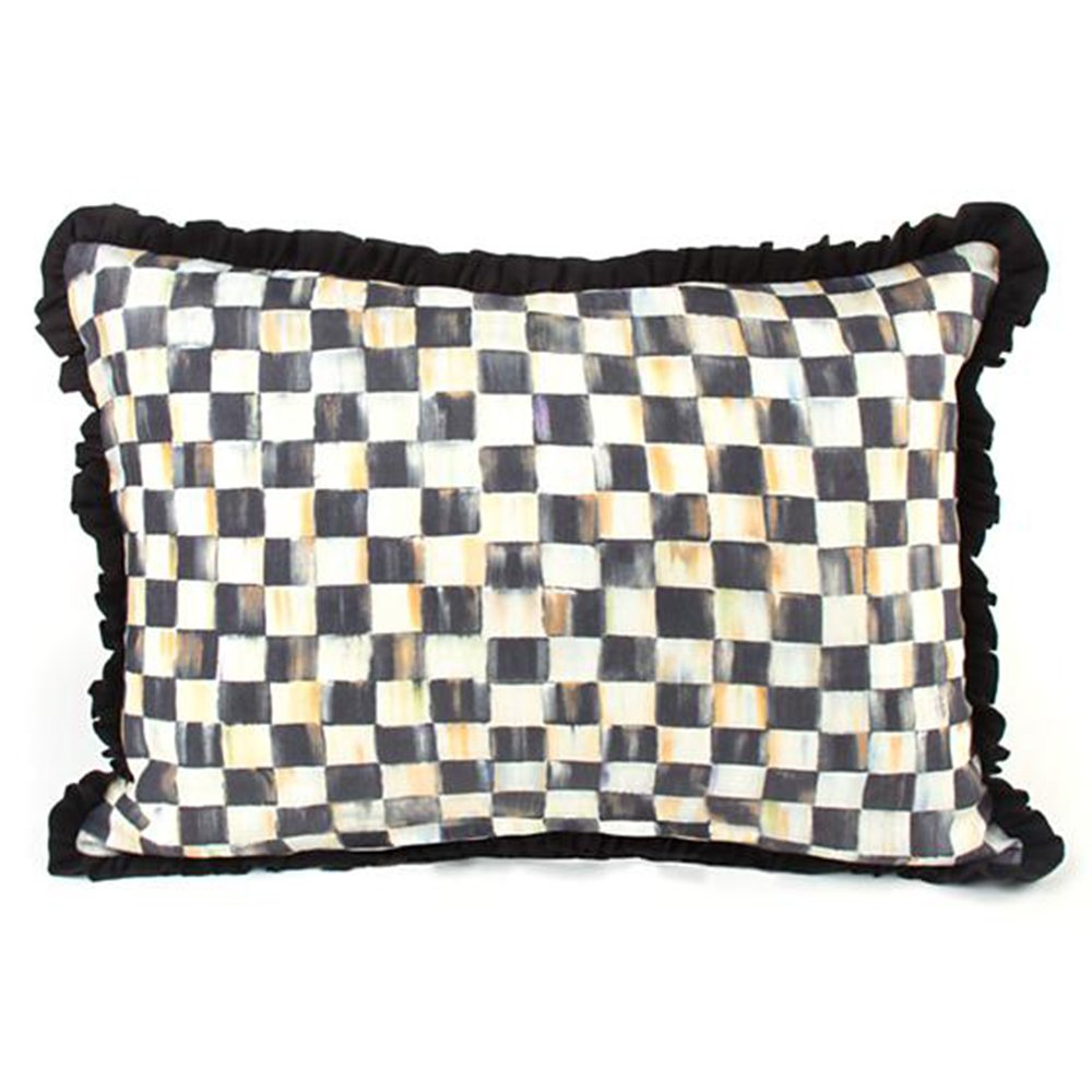 Courtly Check Ruffled Lumbar Pillow, BLACK/WHITE by MacKenzie-Childs