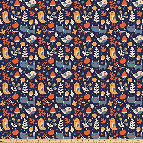 Ambesonne Autumn Fabric by The Yard, Nursery Theme Cute Doodle Animals Heart Shapes and Vegetation of Forest Habitat, Microfiber Fabric for Arts and Crafts Textiles & Decor, 3 Yards, Multicolor