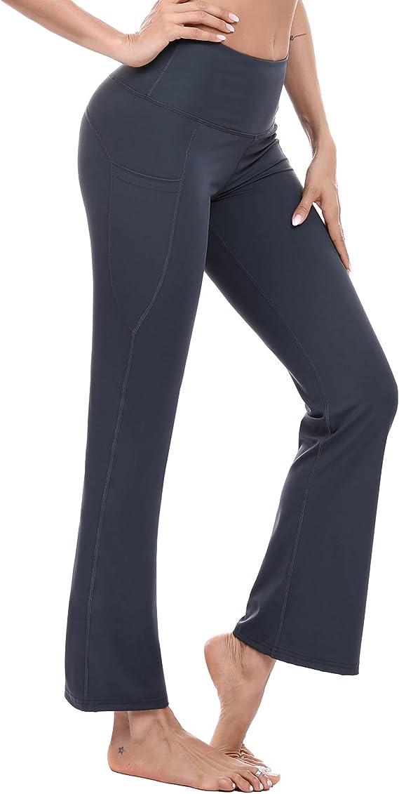 SEVEGO Pantalones de Yoga Bootcut para Mujer con 4 Bolsillos 74cm//78cm//84cm//90cm Entrepierna Peque/ño//Regular//Alto Pantal/ón Lounge Workout