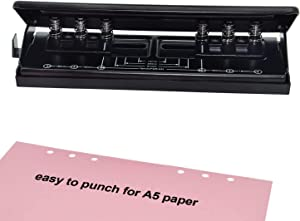 WORKLION Adjustable 6-Hole Punch with Positioning Mark, Daily Paper Puncher for A5 Size Six Ring Binder Planners - Refill Pages
