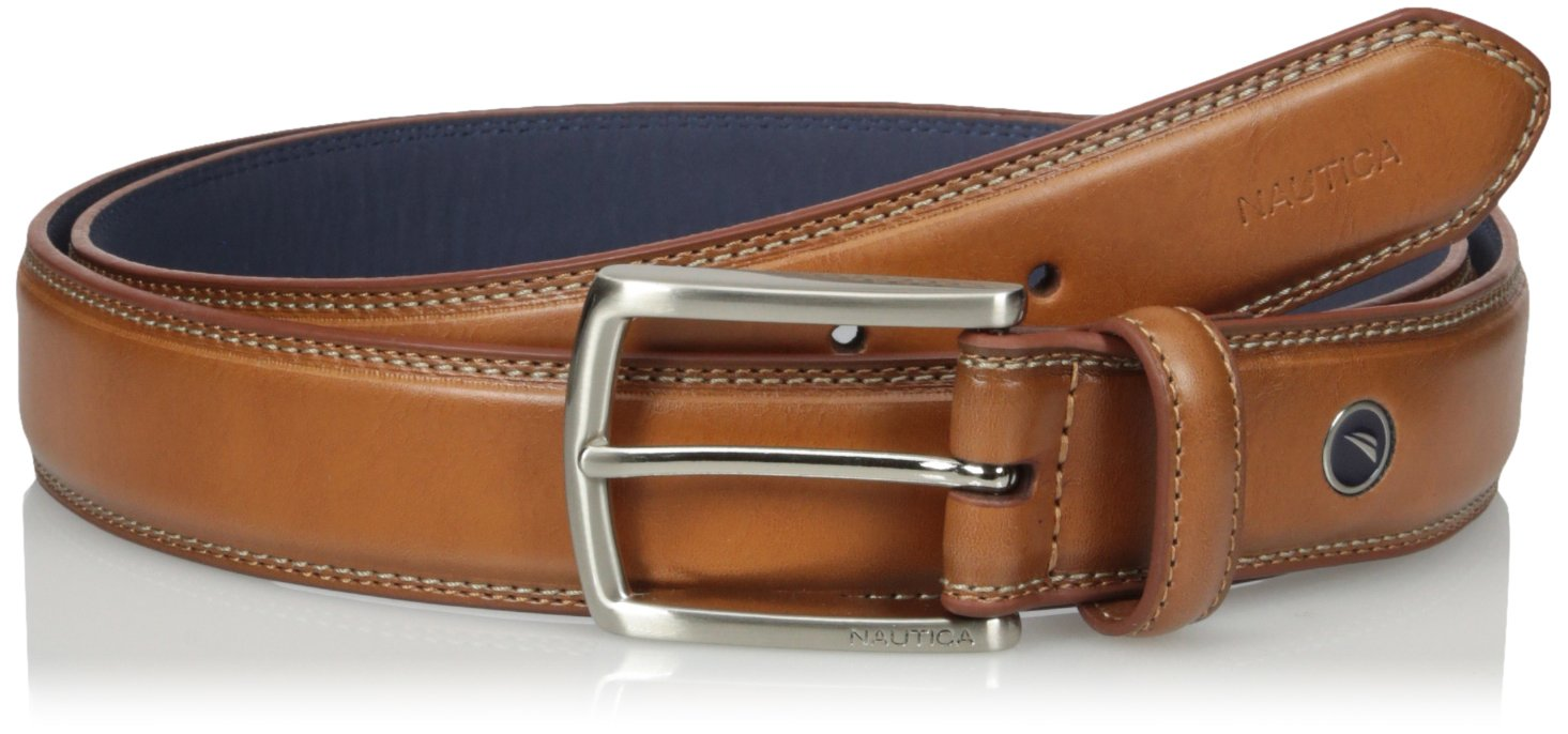 Nautica Men's Feathered Edge with Double-Stitch Casual Leather Belt,Cognac,36
