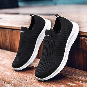 [Maxome] スニーカー スリッポン レディース ナースシューズ ウォーキングシューズ 白 黒看護師 靴 軽量 通気性 歩きやすい 履きやすい 23.0cm