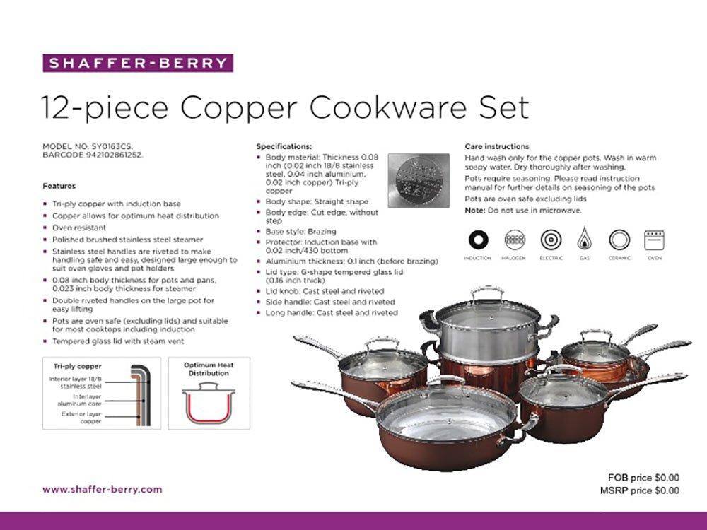 Amazoncom ShafferBerry 12 Piece Copper Cookware Set with