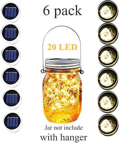 Andady Solar Mason Jar Lid Lights 6 Pack 20 Led String Warm White 6 Hangers Included Jars Not Included , Battery Include Best Decor Patio Garden Decor Solar Laterns Table Lights Outdoor Warm White