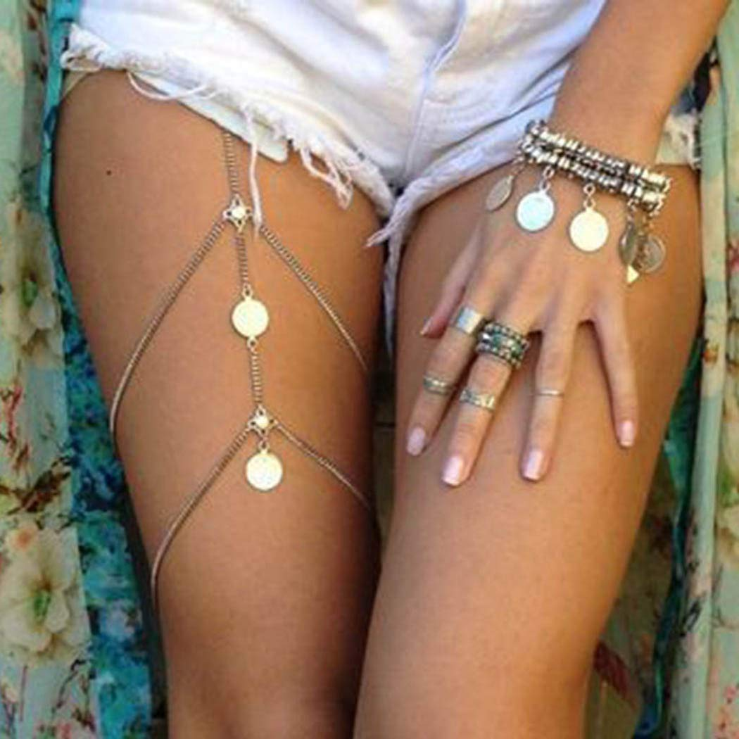 Victray Boho Layered Leg Chains Body Chain Sequins Beach Thigh Chain  Fashion Body Jewelry for Women and Girls (Silver)- Buy Online in Guernsey  at guernsey.desertcart.com. ProductId : 110533904.