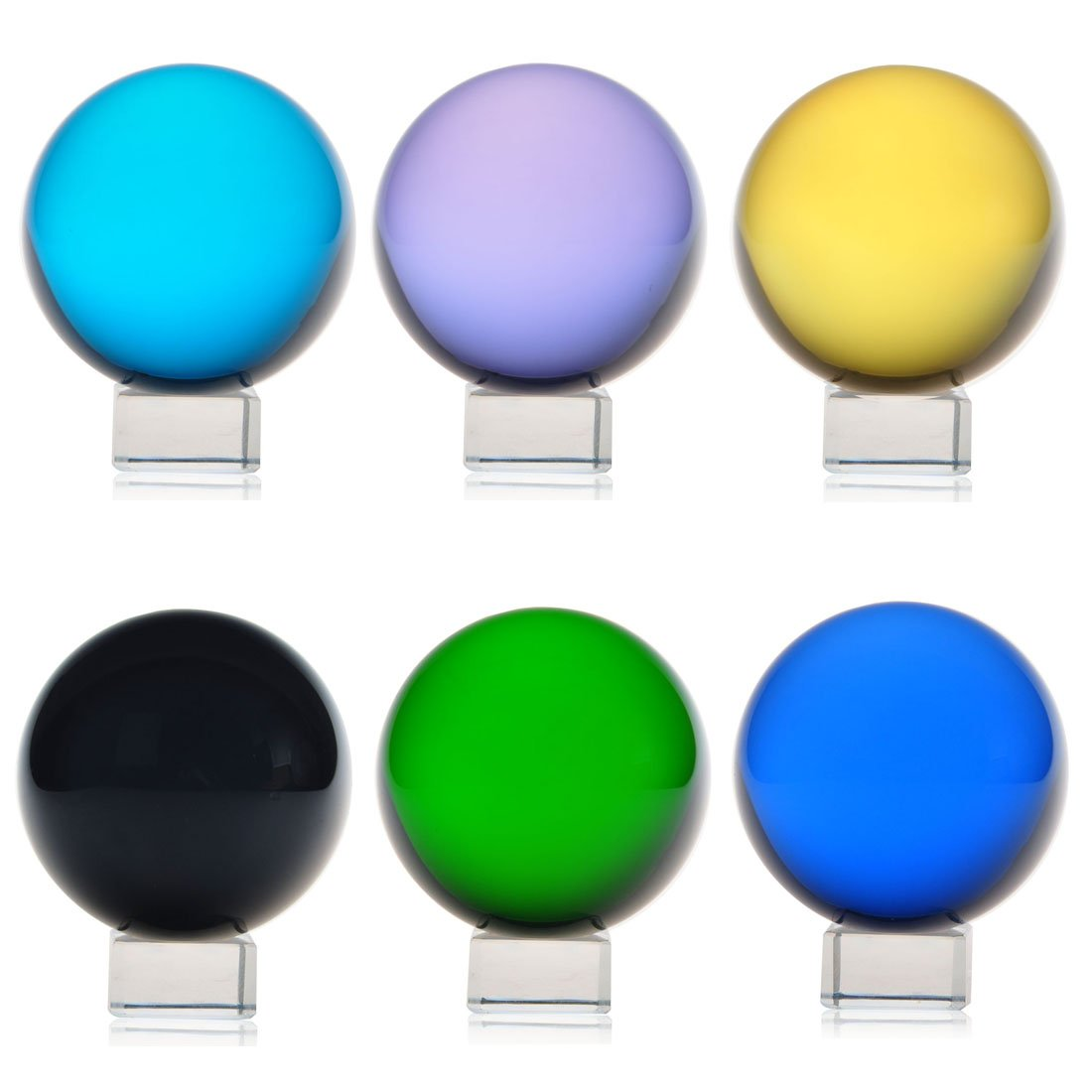 H&D Crystal Meditation Ball Globe Set 6pcs with Free Stand 60mm Multi-color