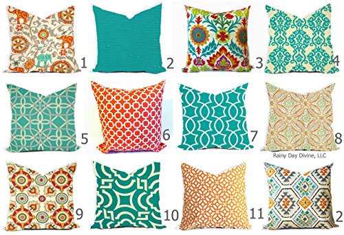 Outdoor Pillow Cover Orange Tangerine Aqua Caribbean Blue