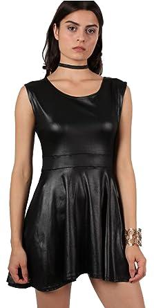 Aramoniat Ladies Womens Wet Look PVC Belted Plus Size Flared Celebrity  Skater Dress  Amazon.co.uk  Clothing f22c59266