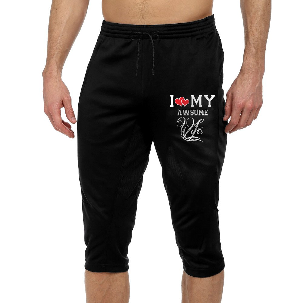 GYang I Love My Awsome WifeMens' Seven-point Pants Casual Funny Print Loose Shorts Leggings Trousers Joggers