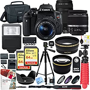 Canon EOS Rebel T6i DSLR Camera with EF-S 18-55mm f/3.5-5.6 IS II and EF 75-300mm f/4-5.6 III Lens and 64GB Memory Card Plus Triple Battery Accessory Bundle