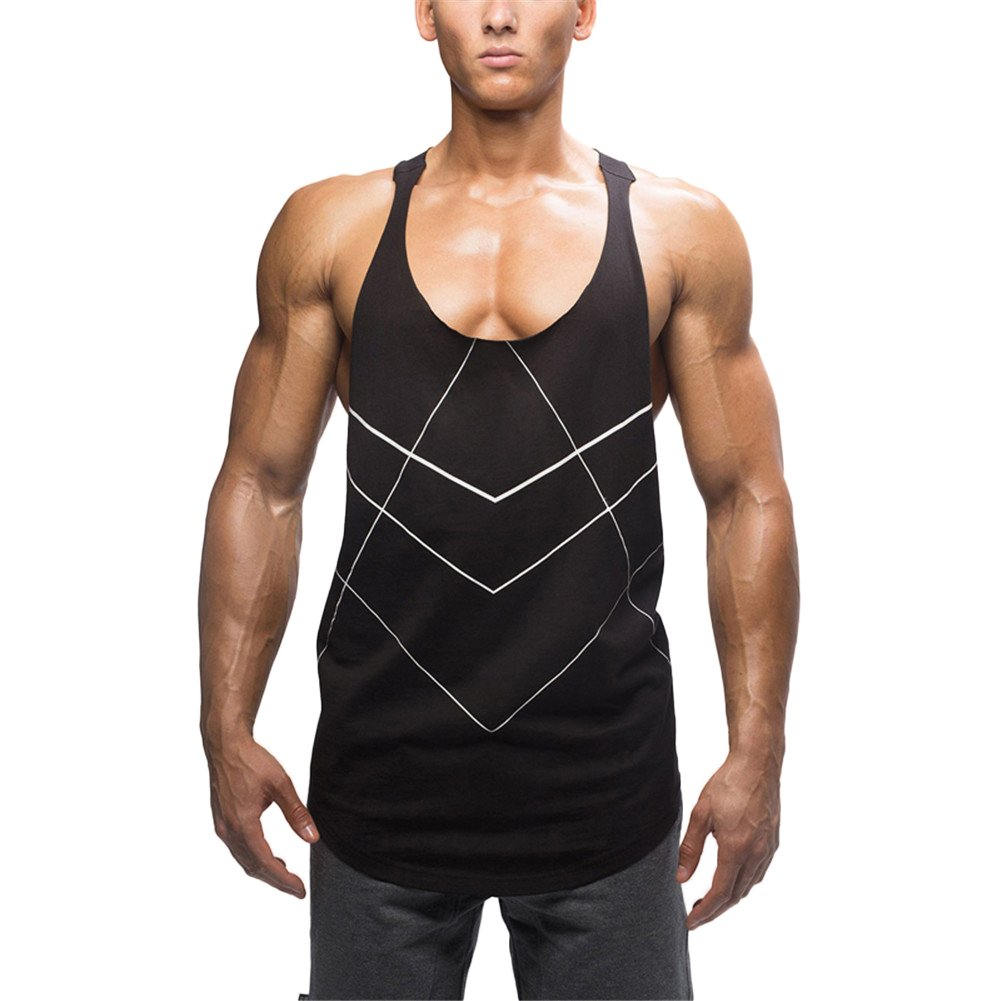 NiuZi Men Sleeveless Loose Fit Bodybuilding I-shaped Vest Tank Tops