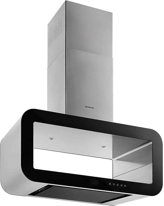 Campana ancha de acero inoxidable, 90 cm y cristal negro: Amazon.es: Grandes electrodomésticos