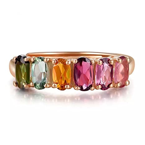 0b6cc1aef29e Natural Turmalina De Seis Colores De Piedras Preciosas Ovales 18K Oro Rosa  Plateado Boda Mujeres Anillo