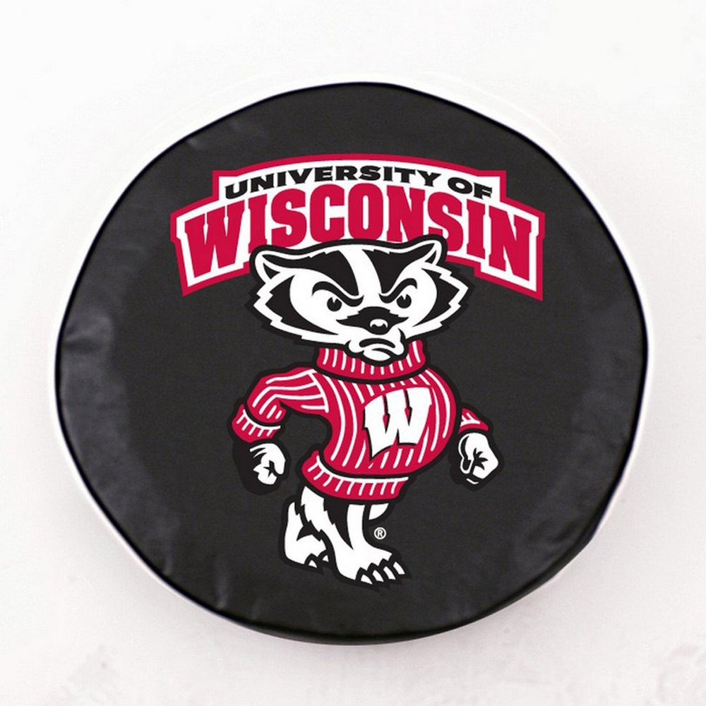 HBS Wisconsin Tire Cover with Badgers Logo on Black Vinyl Size 24 x 8 Inch N