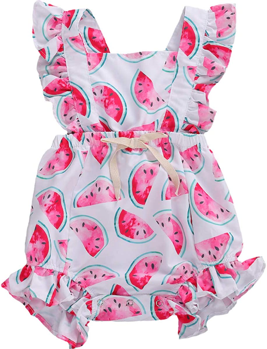 Baby Girl Floral Romper Newborn Infant Ruffle Bodysuit One-Piece Jumpsuit Clothes B- Ruffle Watermelon Romper, 6-9 Months