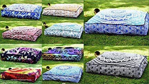 Large Floor Pillow - 5 Pcs Large Mandala Floor Pillows Wholesale Lot Square Indian Cushion Cover 35