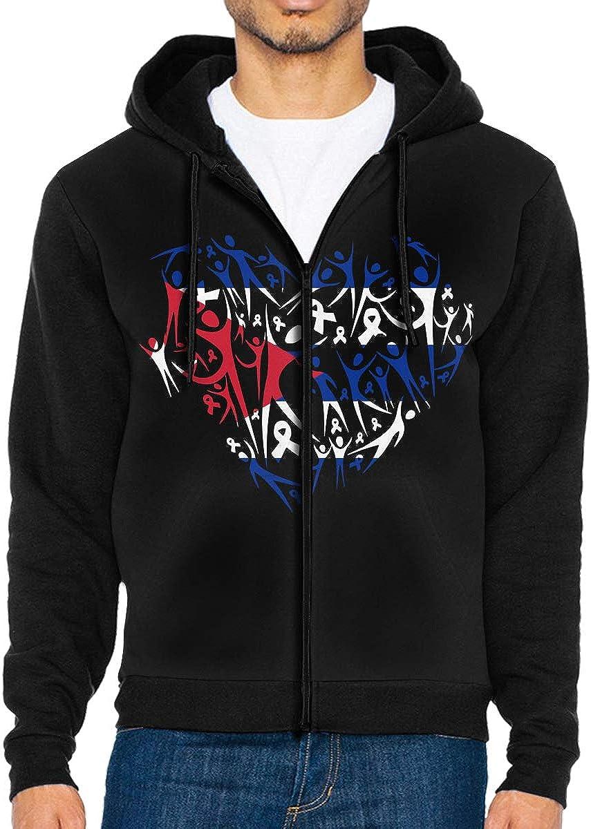 Boys Breast Cancer Awareness Cuba Flag Full Zip Fleece Hooded Sweatshirt