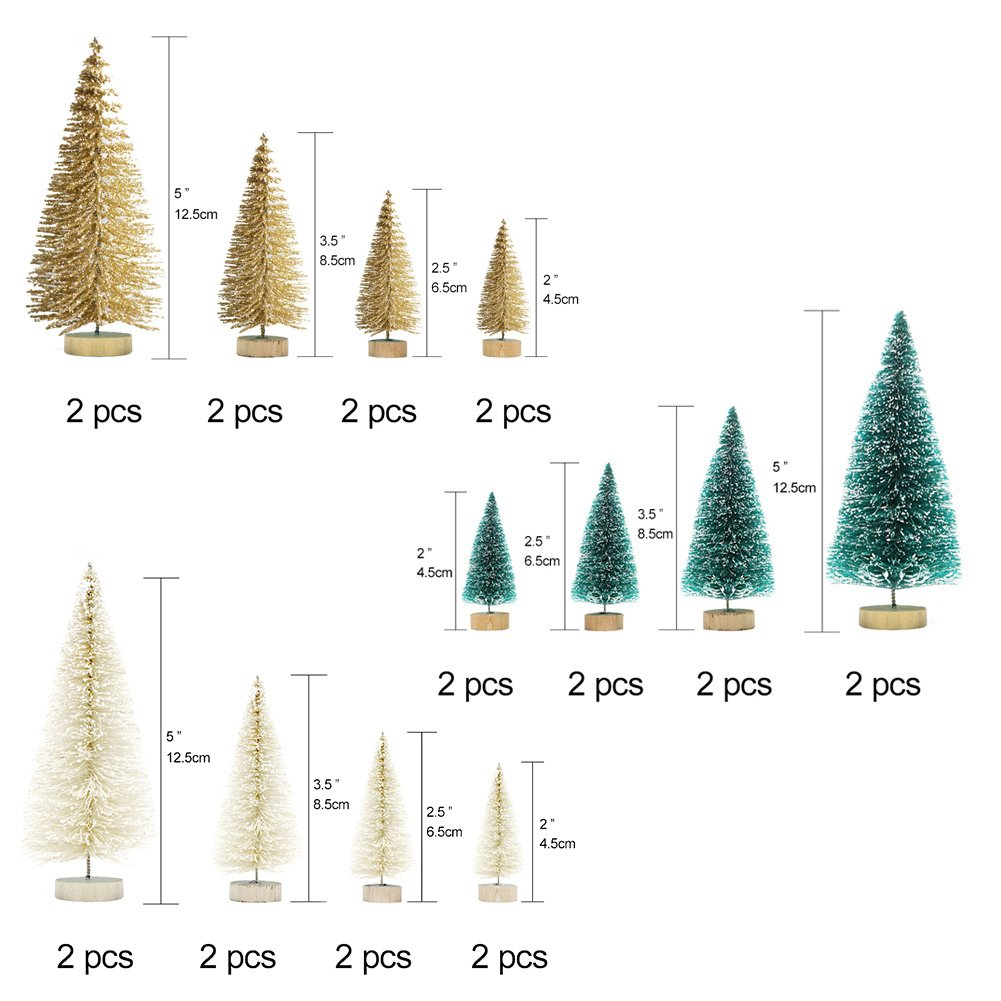 Set of 24 artificial mini Christmas trees with vintage bottle brush style