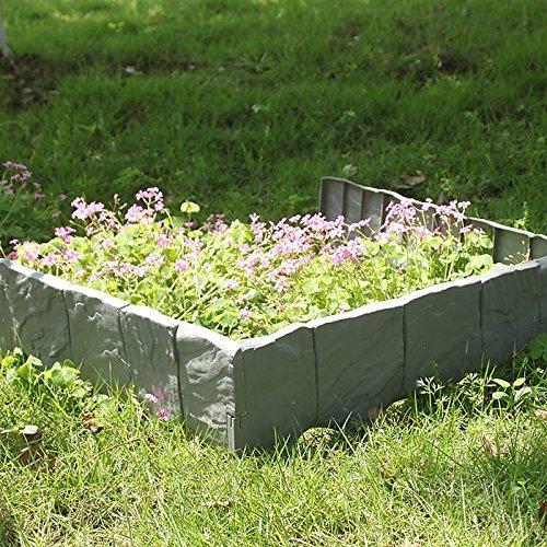 MultiWare 10pcs Bordure Pour Jardin Allée Chemin Barrière Palissade Clôture Plastique Pierre