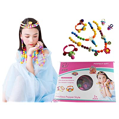 Pop Snap Beads for Girls - Art Crafts Toys for 3, 4, 5, 6, 7, 8 Years Old Kids Gifts, 350 Pcs DIY Jewelry Kits for Toddlers Birthday Gifts and Pop Beads Set to Making Necklace, Bracelet and Hairband…: Toys & Games