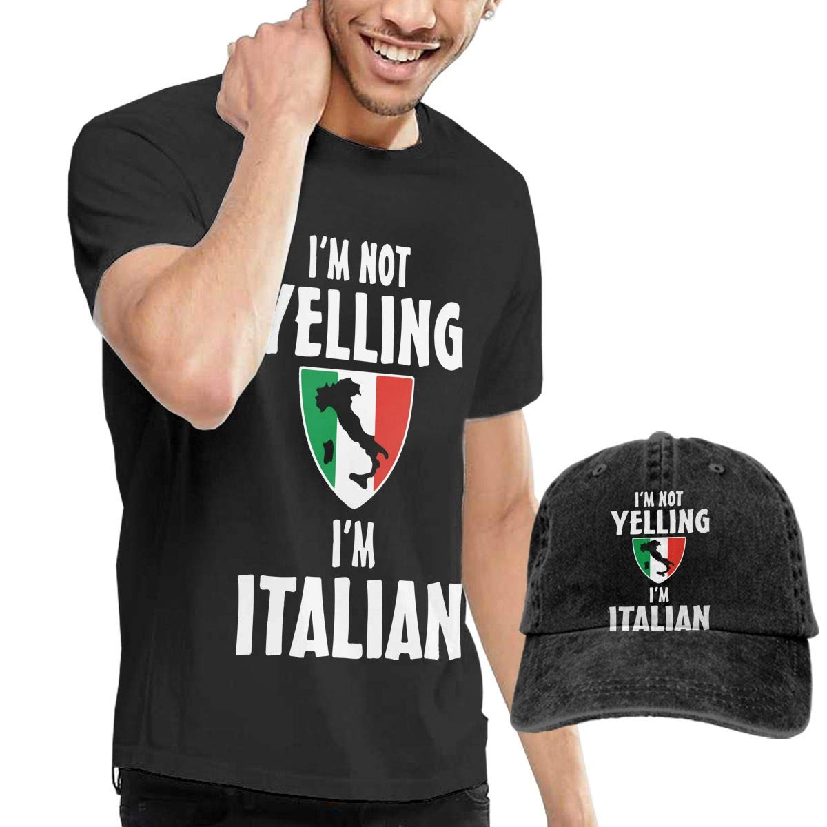 Im Not Yelling Im Italian Adult Mens Cool T Shirts and Sports Jean Cap