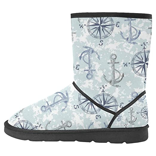 Women's Snow Boots Unique Designed Comfort Winter Boots Anchor Compass Nautical Camouflage Camo Marine Sailor Sail Sea Ocean Maritime