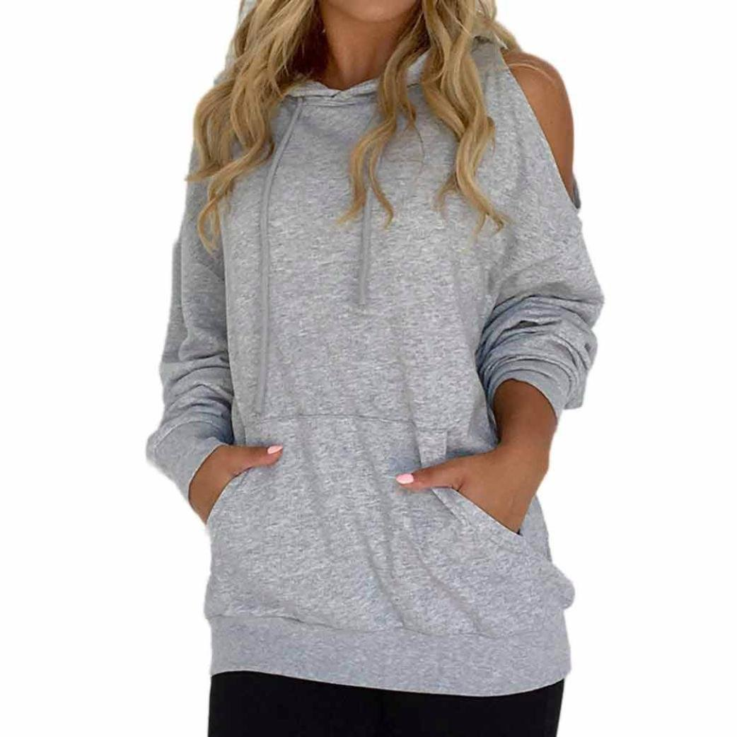 kaifongfu Women Hooded Off Shoulder Sweatshirt Patch Tops Blouse Tops (S, Gray)
