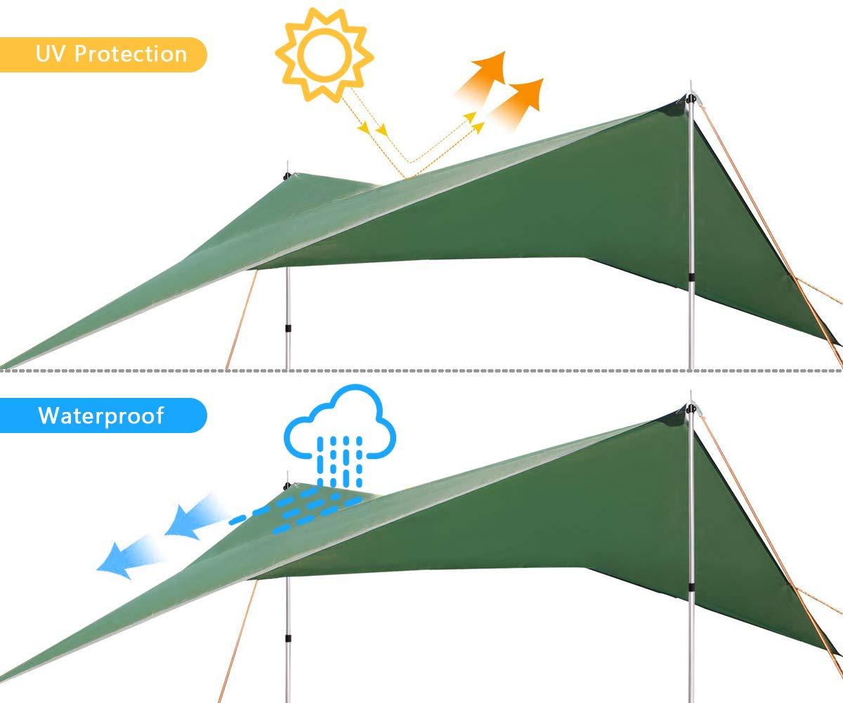 3.6x2.9m PU2000mm Wasserdicht H/ängematte Tarp Regen Fliegen 360 * 290cm mit 2 Aluminiumpf/ähle Leichte Tragbare f/ür Camping 4 Seilen Uong Zeltplane Camping Zelt Tarp