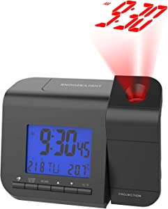Wisoee Projection Alarm Clock for Bedroom with Temperature Dual Alarm 180° Rotable 12/24 Hours Backlight Digital Alarm Clock with Projection on Ceiling DC & Battery Operated