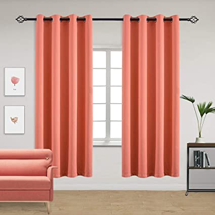 Charmant Yakamok Room Darkening Blackout Curtains Solid Grommet Top Window Curtains  For Living Room(52x84 Inch