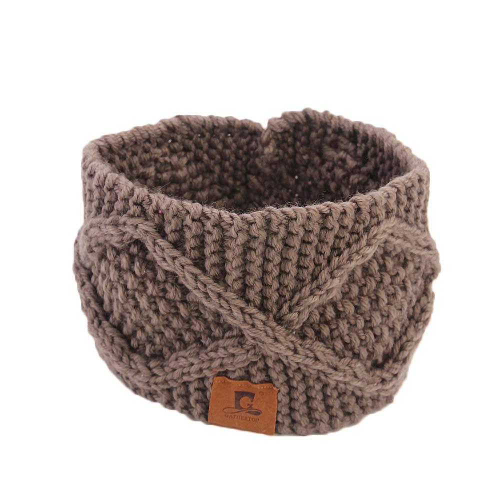 Surgood Bandeau de sport élastique tricoté en laine d'extérieur automne hiver garder au chaud bandeau absorbant 8,2 * 4,3 pouces pour la course, le yoga et l'exercice le yoga et l'exercice NSTD002