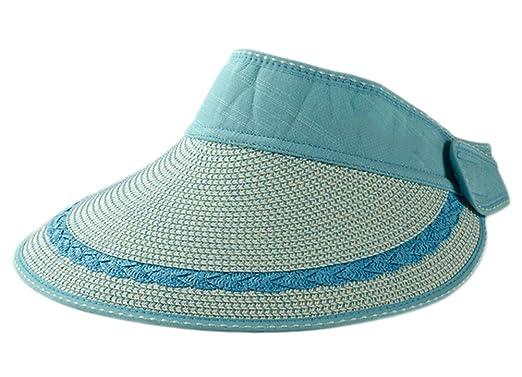8b2dc9d401092 Leisial Mujeres Sombrero del Sol Grande Ala Playa Paja Anti-UV Plegable Sombrero  de Visera para Viajar Casquillo al Aire Libre del Verano