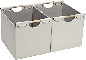 HOONEX Large Foldable Cube Storage Bins, Linen Fabric, 2 Pack, with Wooden Carry Handles and Sturdy Heavy Cardboard, for Home, Office, Car, Nursery, Beige