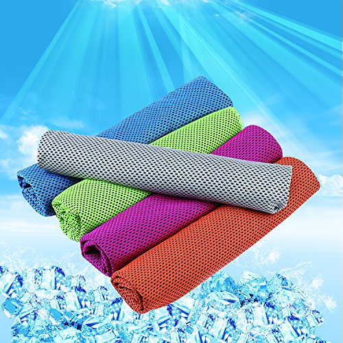 Frontoper 5 Pack Cooling Towel, Super Sweat-Absorbent Sports Towel for Sports, Workout, Fitness, Gym,Yoga, Pilates, Travel,Camping,Running,Training,Driving, Cycling & Other Sports