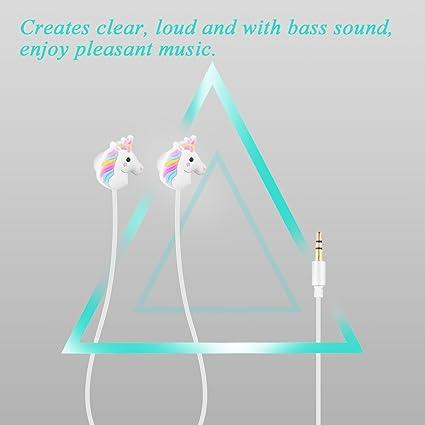 TiooDre Unicornios linda de la historieta en la oreja los auriculares auriculares auriculares auriculares para telÂ