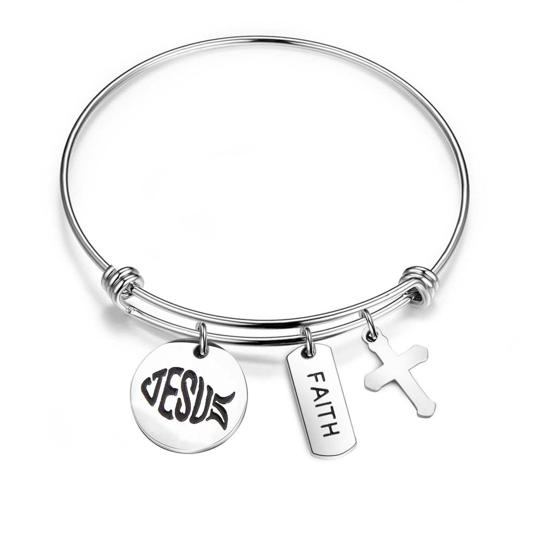 bobauna Christian Jesus Fish Symbol Cross Charm Expandable Wire Bangle Bracelet Religious Gift For Her (jesus fish bracelet)