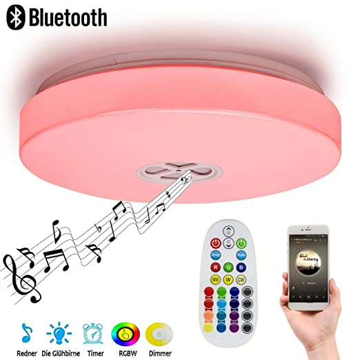 OOFAF LIGHT Luz de Techo Inteligente LED, con Altavoz Bluetooth ...